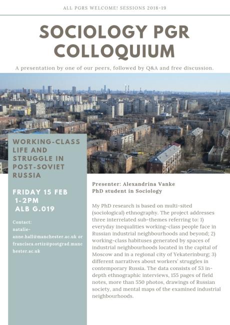 Sociology PGR Colloquium